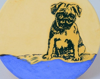Pug Puppy, Hand Crafted Ceramic Coaster, Absorbs Moisture, Yellow and Blue, Screen Print