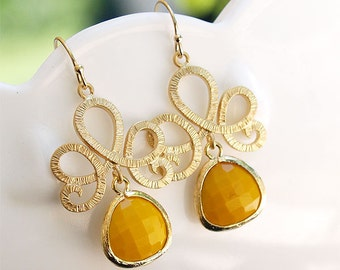 Gold and Mustard Dangle Earrings - Gold Filled Earwires - Gold Yellow Dangle Earrings - Gifts, Bridal, Bridesmaids