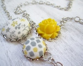 Yellow and Gray Necklace, Yellow and Grey Necklace, Flower Necklace, Floral Necklace, Flower Jewelry, Fabric Flower Necklace
