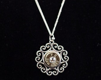 """Sterling Silver Small Scrolling Filigree Bullet Necklace and Pendant-""""Baby Cowgirl Classic""""-Free Shipping"""