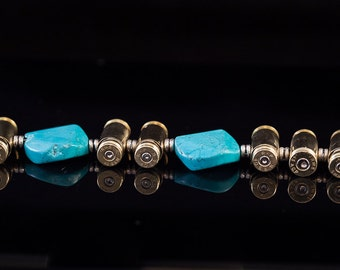 "Ammo Bullet Turquoise Bracelet-""Targets and Turquoise""-Azura Braclet 40mm, 45mm bullets"