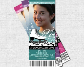 ICE SKATING TICKET Invitations Birthday Party - (print your own) Personalized Printable