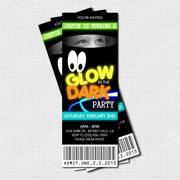 Glow In Dark Party Invitations as adorable invitation template