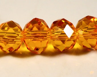 Orange Rondelle Crystal Beads 8x6mm (6x8mm) Light Orange Faceted Chinese Crystal Glass Beads on an 8 1/2 Inch Strand with 36 Beads