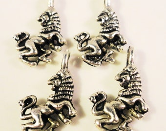 Silver Lion Charms 17x10mm Antique Silver Metal Charms Small Double Sided Animal Charms Leo Charm Lion Pendant Jewelry Making Findings 9pcs