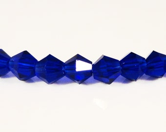 Bicone Crystal Beads 4mm Royal Blue Faceted Chinese Crystal Glass Beads 100 Loose Beads per Pack