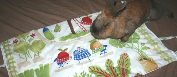 The Bun-velope - soft carrier liner for bunny rabbits quilted happy veggies fabric