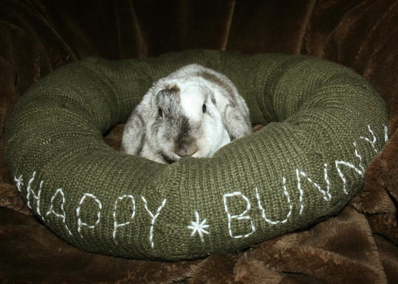 Ugli Donut bunny rabbit bed for a large sized bunny Army green cable knit with Happy Bunny embroidery