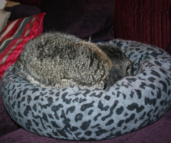 reserved for Jackie - Ugli Donut bunny rabbit bed for a medium sized bunny leopard print wool with Angora