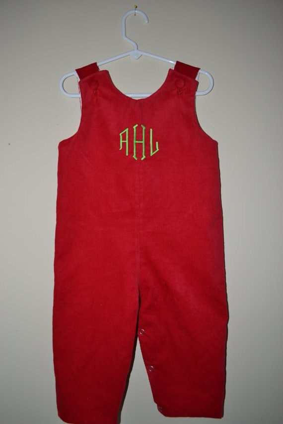 Monogrammed Corduroy Longall, your choice of monogram. Coordinating dress available in my Etsy Store.