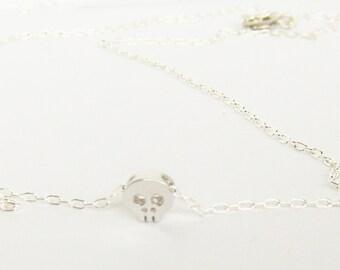 Mini Silver Skull Necklace - Minmalist Jewelry