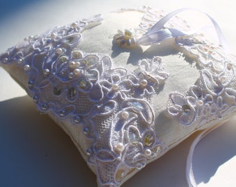 Wedding Lace Ring Bearer Pillow, Bridal Accessories,  Silk Dupioni Pillow, Ivory Pillow