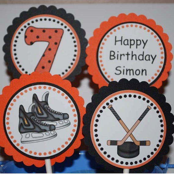 Hockey Sports Cupcake Toppers - Set of 12 Personalized Birthday Party ...