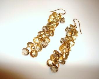 Golden Shell Dangle Earrings