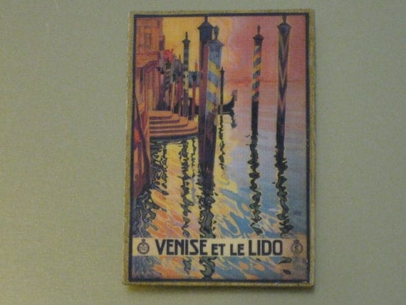French Vintage 1920's Travel Poster of Venice Wooden Magnet
