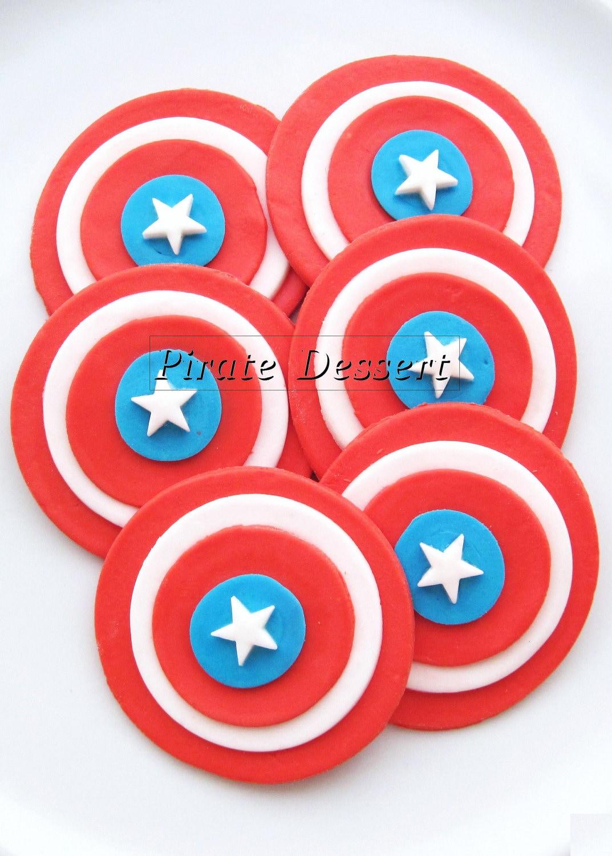 Edible Cupcake Toppers Captain America Super Hero Fondant