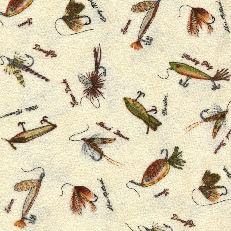 Fishing flies and lures fabric by the yard by robert kaufman for Fishing themed fabric