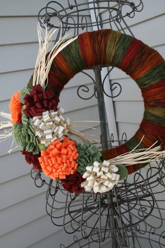 Fall Yarn Wreath/Halloween/Thanksgiving/Felt Mums/Flowers/Burlap/Raffia