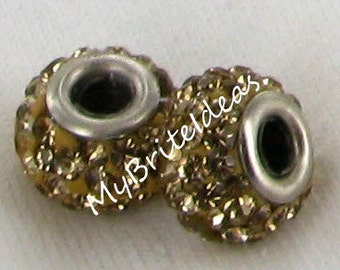 Two (2) 12mm Gold Pave Beads 4mm Hole