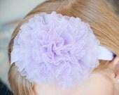 Lilac/Lavender Purple Organza Puff Flower Headband, Newborn, Infant, Baby, Toddler, Girls and Adult