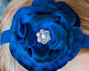 Dark Blue Flower Headband or Hair Clip, Newborn, Infant, Baby, Toddler, Girl and Adult