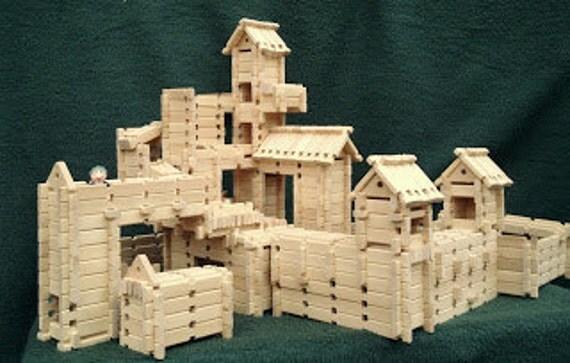 Wood Building Toy, 344 piece hardwood block set, educational toy, children's construction toy