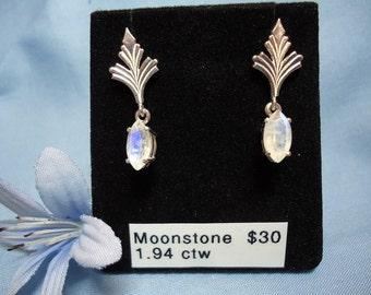 Marquise Cut Moonstone Dangle Earrings in Sterling Silver  #194