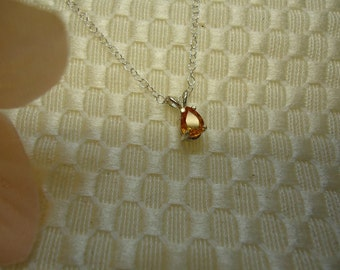 Dainty Pear Cut Yellow Sapphire Necklace in Sterling Silver  #400a