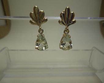 Pear Cut Aquamarine Dangle Earrings in Sterling Silver   #407