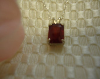 Emerald Cut Ruby Necklace in Sterling Silver   #425