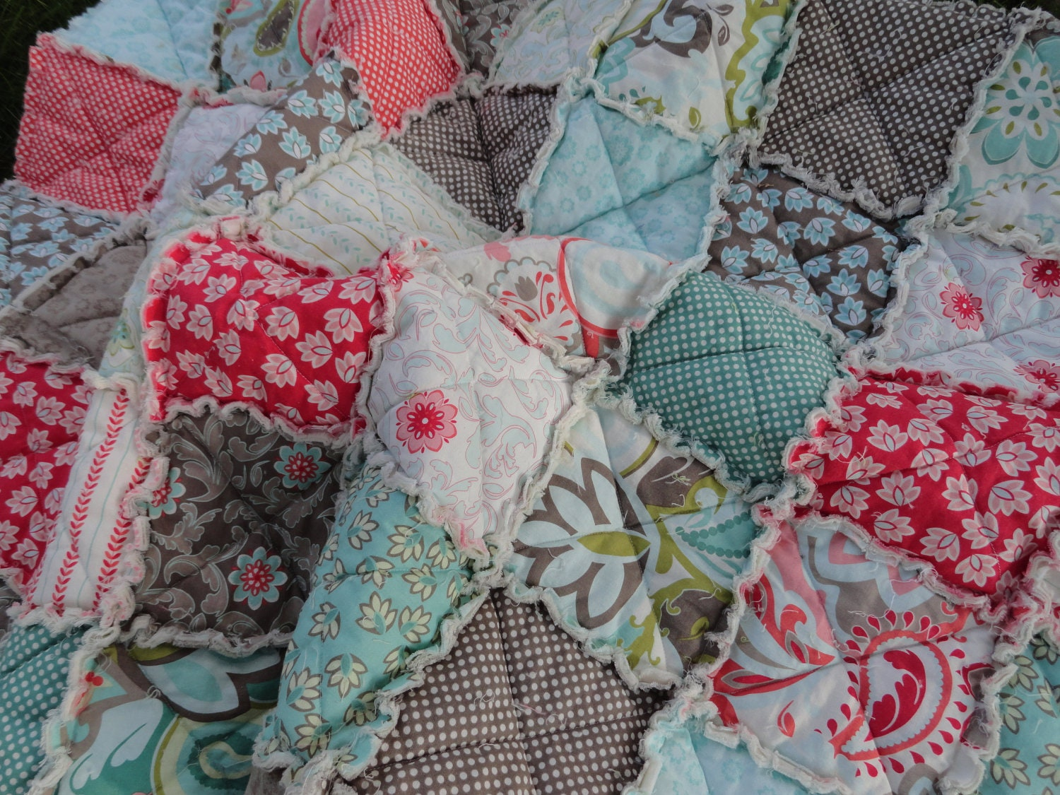 Baby Girl Rag Quilt Crib Size Made In Verona Fabric By Riley