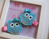 Embroidered Blue and Pink Felt Owl Hair Clip with No Slip Grip