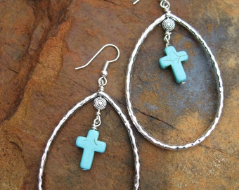 Turquoise Cross Teardrop Earrings