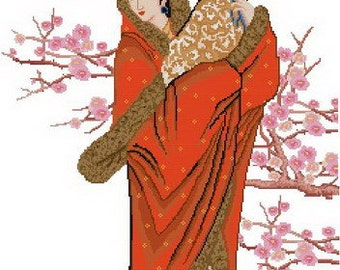 Digital downloadable PDF file counted aida oriental beauty cross stitch digital pattern G08 238 x 405 stitches