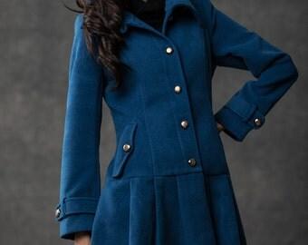 Blue coat women coat mini coat C389