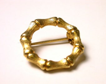 Vintage Yellow Gold Plated Brooch - Bamboo Pin # 966