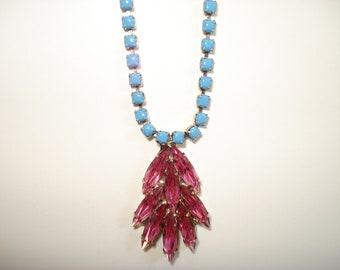 Avant Garde Hand Painted Vintage Rhinestone Necklace