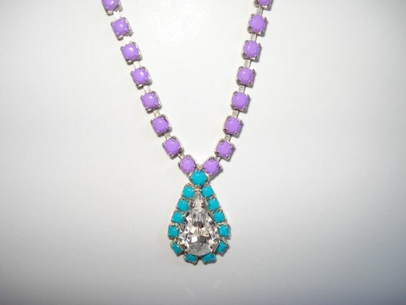 One Of A Kind Purple and Neon Turquoise Hand Painted Vintage Rhinestone Necklace