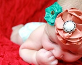 Vintage Style Mocha Brown & Turquoise Satin Fabric Double Flower Headband with Pearl Embellishment and Beads for Baby Girl
