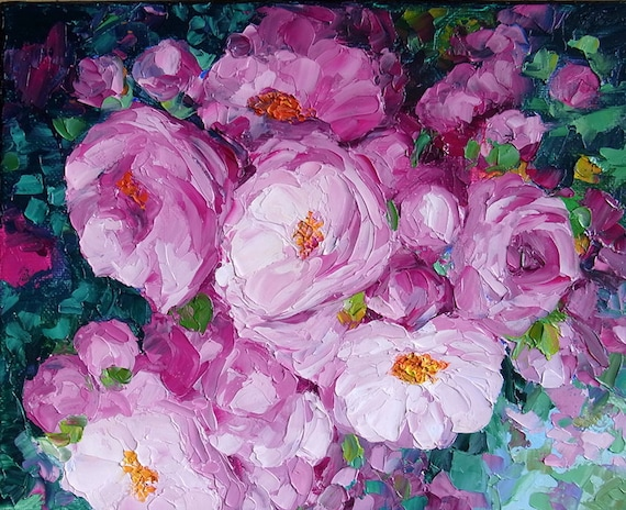 """Rose Painting Garden Flower Textured Palette Knife Impasto Oil Painting Small 8 x 10"""" Canvas"""