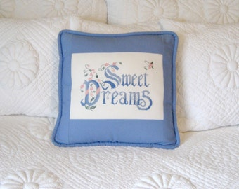 Sweet Dreams Pillow / Hand Stitched Pillow / Bedroom Pillow / Embroidered Pillow / Gift Pillow /  16 Inch Pillow - Unique Gift