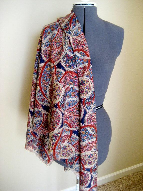 Stunning Liberty 100% Wool Scarf / Never Used Paisley Shawl / Over Sized Large Headscarf