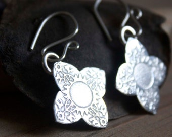 flower sterling silver earrings, floral and romantic style, intricate details, Sindhu, clip on earrings option