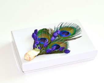 Peacock Feather Lavender Shell Jewelry Gift Box
