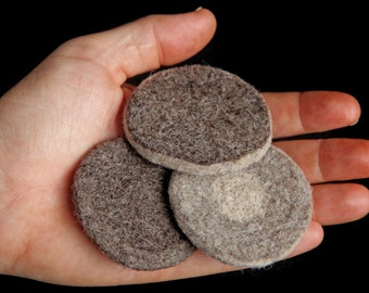 set of 3 felted wool reusable exfoliating face pads