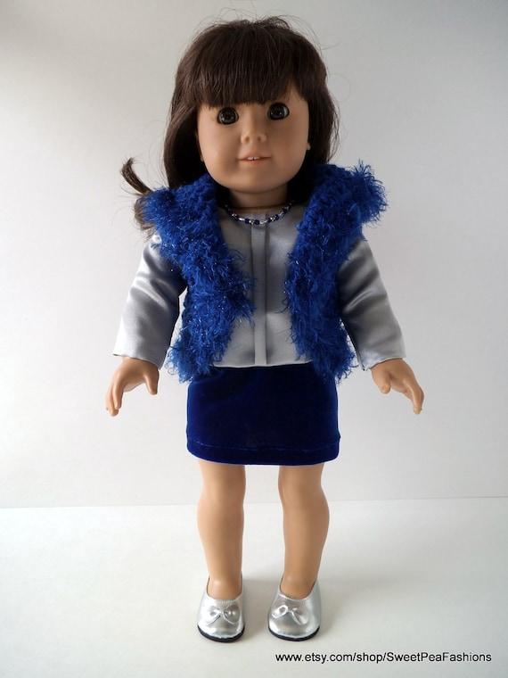 American Girl Blue Skirt, Blouse, and Vest Set