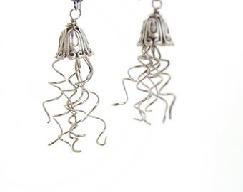 Jellyfish Earrings Silver Beach jewelry wire twisted nautical