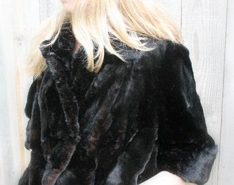 Vintage Black Faux Fur Women's Coat black 3/4 sleeve 1950s evening holiday party