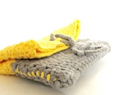 Zakka style Grey and Yellow color block crochet purse / Home made style wallet / travel pouch / makeup pouch europeanstreetteam