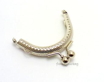 2 units 6 cm fancy purse frame silver F6/050